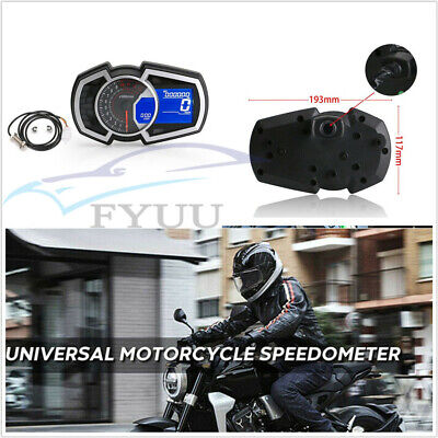 13000RPM MOTORCYCLE LCD SPEEDOMETER ODOMETER KMH MPH RPM SPEED FUEL GA