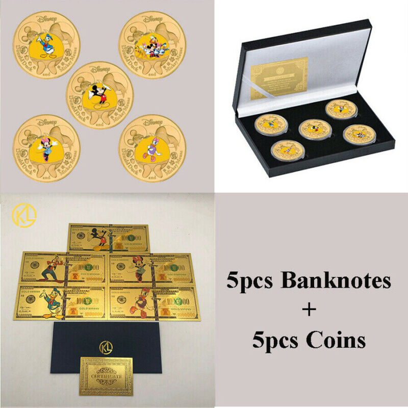5pcs Fantasy Disney Daisy Duck Minnie Gold Anime Banknote + 5pcs Gold Coins Set