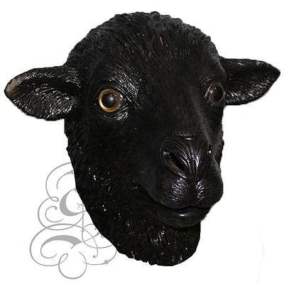 Latex Schwarz Schaf Kopf Bauernhof Tiere für Kostüm Zubehör Karneval Party Maske