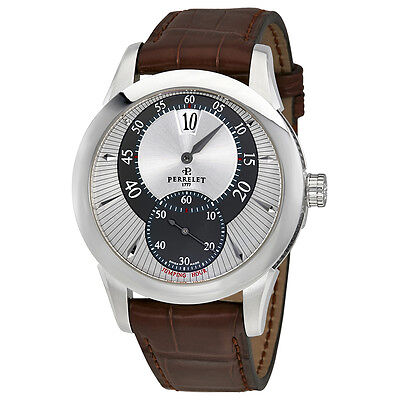 Perrelet Jumping Hour Automatic Brown Leather Mens Watch A1037/1