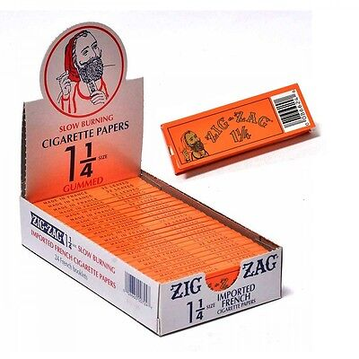 Authentic 24 Packs of Zig Zag Orange 1 1/4 Rolling Cigarette Paper..FAST SHIPPIN