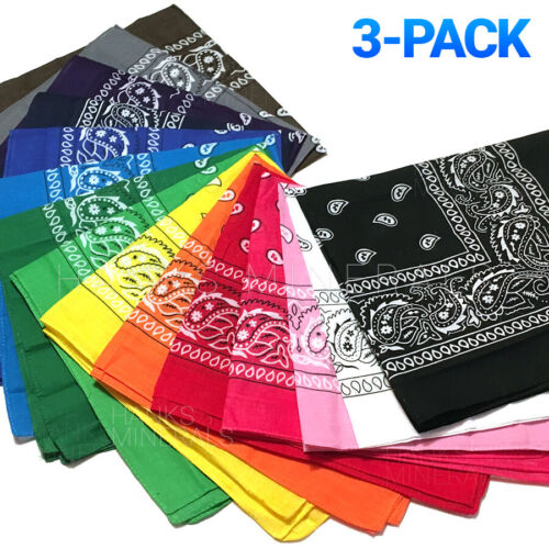 3-Pack Bandana 100% Cotton Paisley Print Double-Sided Scarf Head Neck Face Mask