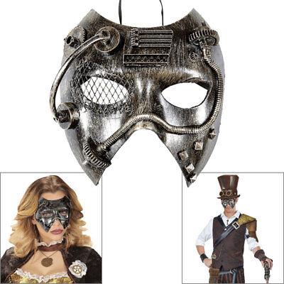 STEAMPUNK MASKE Silberne Augenmaske Wave Gothic Fantasy Kostüm - Augenmaske Kostüm