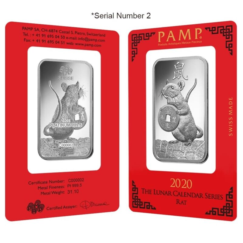 1 oz PAMP Suisse Year of the Mouse / Rat Platinum Bar (In Assay) Serial #2