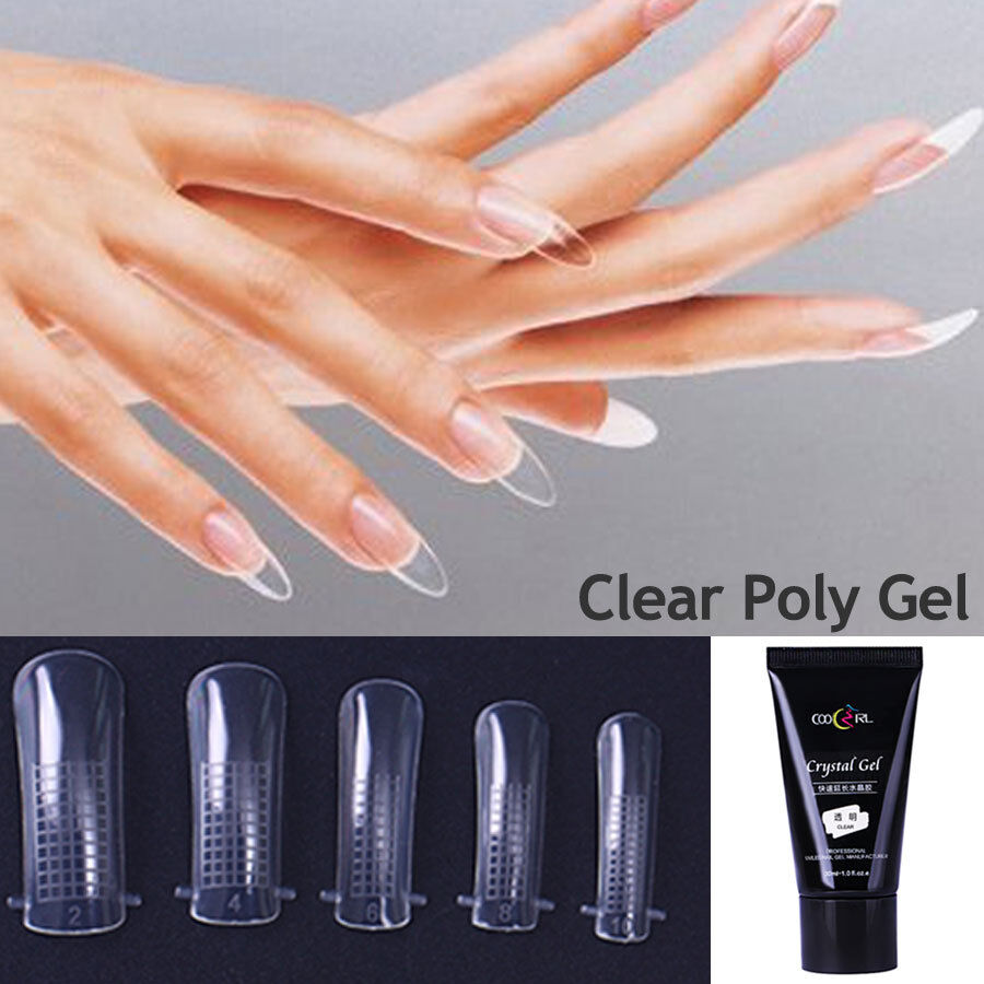 30ml Quick Building Poly Gel Nails Builder Extension Tips UV Brush ...
