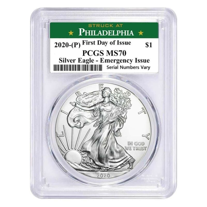 2020 (P) 1 oz Silver Eagle PCGS MS 70 FDOI (Philadelphia) Emergency Issue