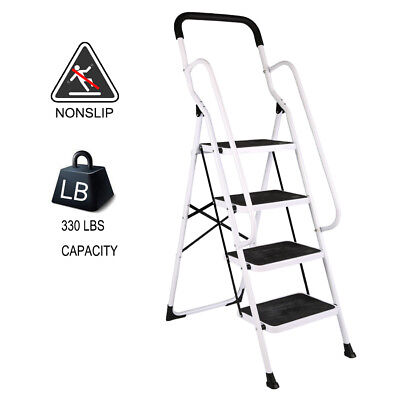 4 Steps Folding Ladder Step Stool w/ Hand Grip 330 Lbs Capacity,Home Kitchen -