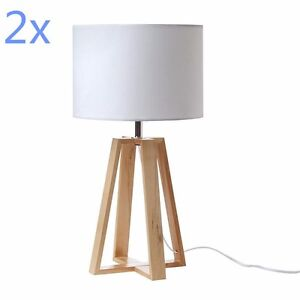 2x Modern White And Natural Pine Wood Bedside Desk Table Cafe Lamp 48cmH