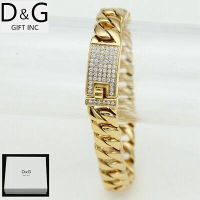 """DG Men's 8.7"""" Gold Stainless Steel 12mm CZ Miami Cuban-Curb Buckle Bracelet*BOX"""