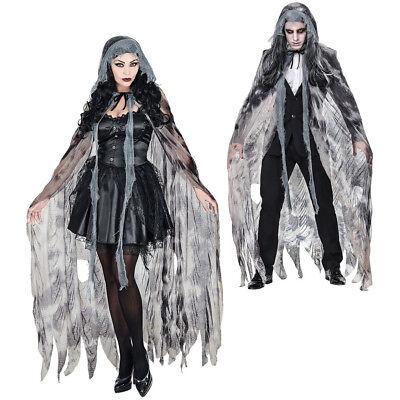 Hexen Cape (GRAUER GEISTER UMHANG Halloween Gespenster Cape Vampir Hexen Kostüm Party 68586)