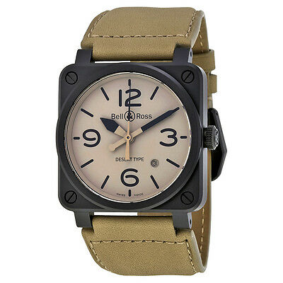 Bell and Ross Aviatio Desert Type Beige Dial Mens Watch BRS-DESERT-CEM
