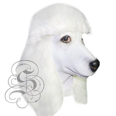 Latex Voller Kopf Tier Weißer Pudel Hund Hochwertig - Pudel Hund Kostüm