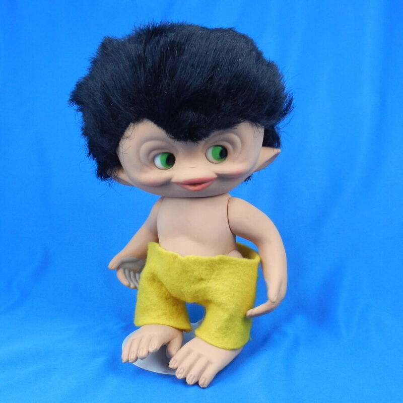 Vintage Unica MONKEY TROLL DOLL Rooted Hair Boy Jolly Toto Belgium 1965