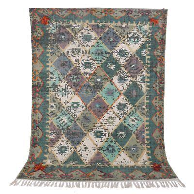4x6 foot Thin Boho Tribal Green Multi Colored Embroidered and Pom Cotton carpet ()