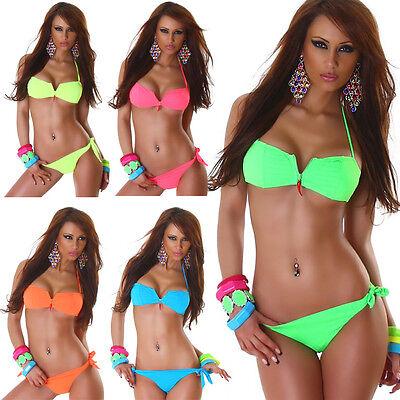 Triangel Push Up Strass Badeanzug Zier Anhänger Bademode Neckholder Bikini Neon