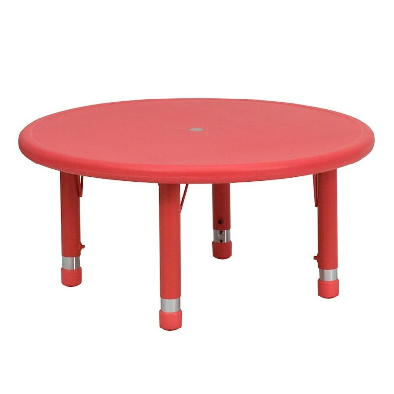 """Flash 33"""" Round Height Adjustable Red Plastic Activity Table"""