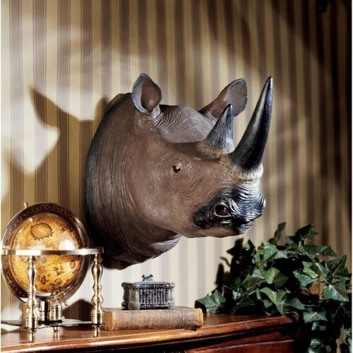 "20.5"" African Trophy Rare Hooked Lip Black Horned Rhino Wall Sculpture Decor"
