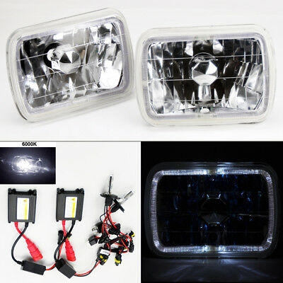"7X6"" 6K HID Xenon H4 Crystal Clear Glass Halo Headlight Conversion Pair Jeep"