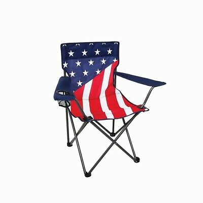 Fabric Outdoor Folding Chair - Outdoor Camping Chair Compact Folding Frame Mesh Cup Holder w/ Polyester Fabric