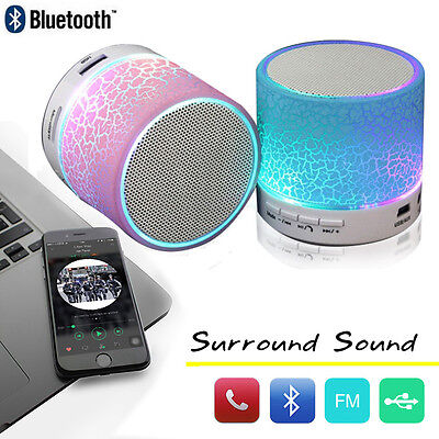 LED Stereo Bluetooth Wireless Speaker For Phone Tablet Notebook Super Bass
