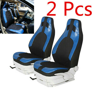 Pair Black+Blue Car Front Seat Cover Cushion Protector Pad PU Leather+Polyester