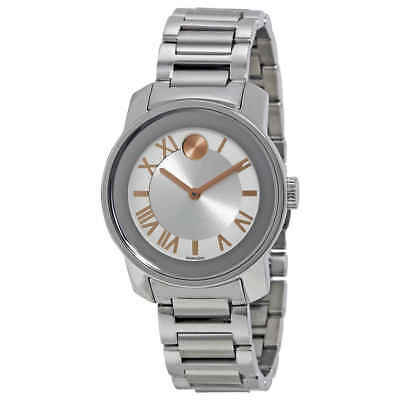 Movado Bold Quartz Silver Dial Stainless Steel Ladies Watch 3600244