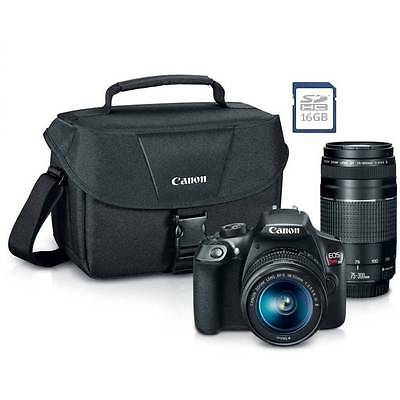 New Canon Rebel T6 SLR Camera Premium Kit w/ 2Lens 18-55& 75-300mm, bag, SD Card