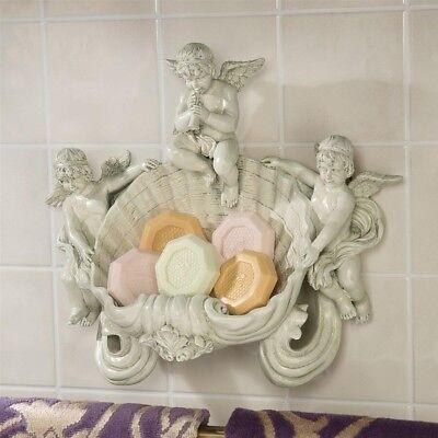 Italian Baroque Sculpture - Italian Baroque Replica Baby Angel Cherubs Wall Font Sculpture Soap Dish New
