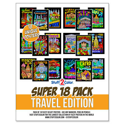 Super Pack of 18 Fuzzy Velvet 8x10 Inch Posters (Travel Edition) - Velvet Coloring Posters