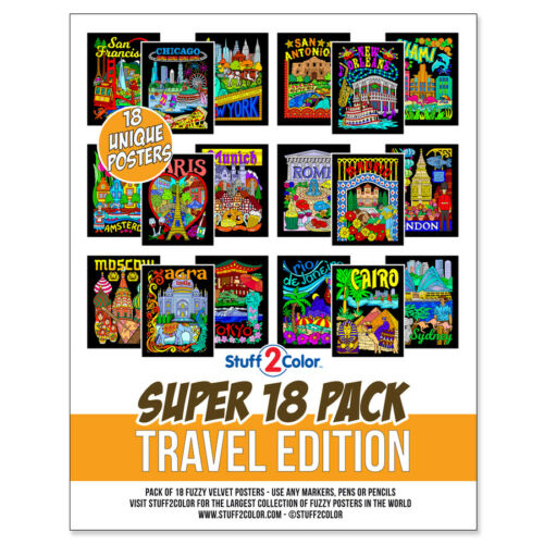 Super Pack of 18 Fuzzy Velvet 8x10 Inch Posters (Travel Edition) Stuff2Color