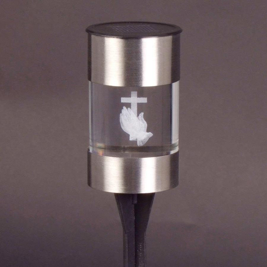 LED-Solar-Grablicht Grablaterne Glaslicht Grabschmuck Solarlampe Grabdekoration