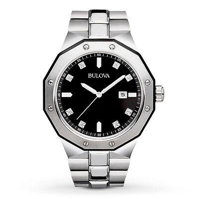Bulova Men's Marine Star Diamond Accents Black Dial Bracelet 45mm Watch 98D103