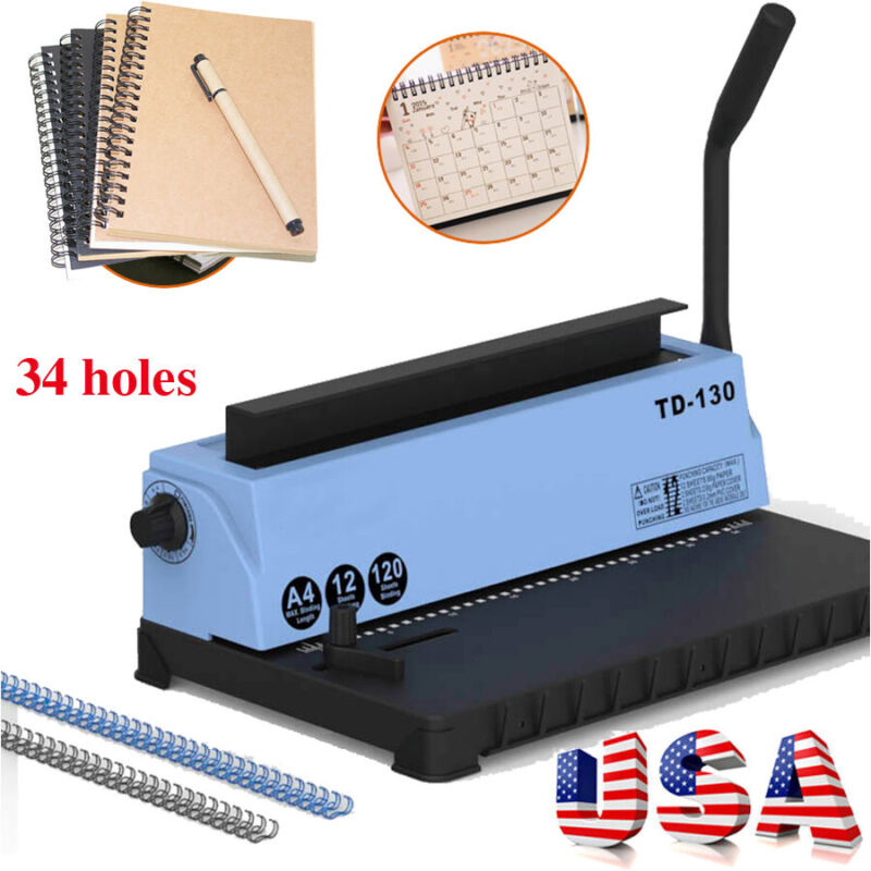 34Holes Punching Binding Machine Steel Spiral Coil Binder for Desk Calendar USA