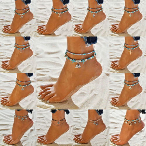 Jewellery - Womens Ankle Bracelet Silver Gold Plated Anklet Foot Chain Beach Beads Jewellery