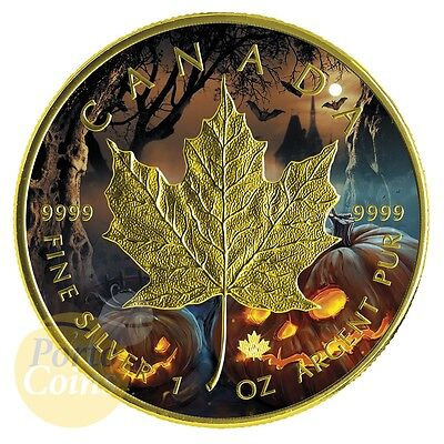 2016 Canada 1 OZ Silver $5 Maple Leaf Halloween colorized & gold gilded Coin NEW