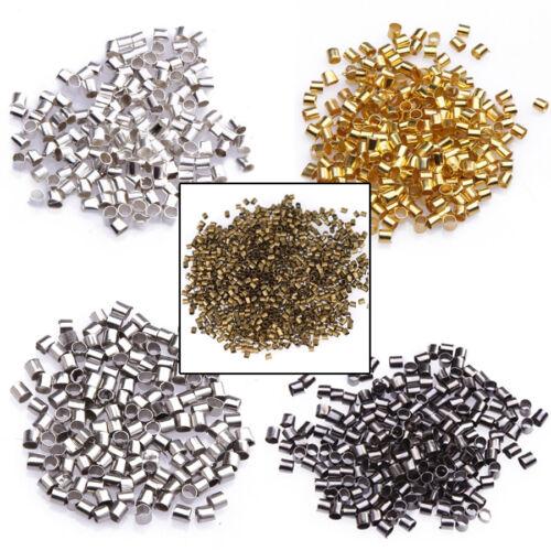 500/1000pcs Silver Plated/Golden/Dark Silver/Black Tube Crimp End Beads 1.5/2mm!