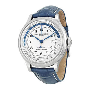 Baume and Mercier Capeland Worldtimer Blue Leather Mens Watch M0A101