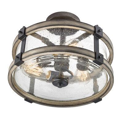 (Kichler Barrington Anvil Iron and Driftwood Clear Glass Semi-Flush Mount Light)