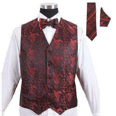 Men's Paisley Tuxedo Formal Vest Red 4pc Set #005 - Vest w/ Bow Tie Hanky & Tie - Red Tuxedo Vest Set