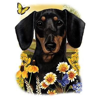 """DACHSHUND,Black Smooth DOG w Flowers on Fabric. 18x22"""" Panel to Sew.Pic is 9x11"""" for sale  Forest City"""