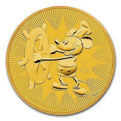 2017 Niue 1 oz Gold $250 Disney Steamboat Willie Coin BU - SKU #132405