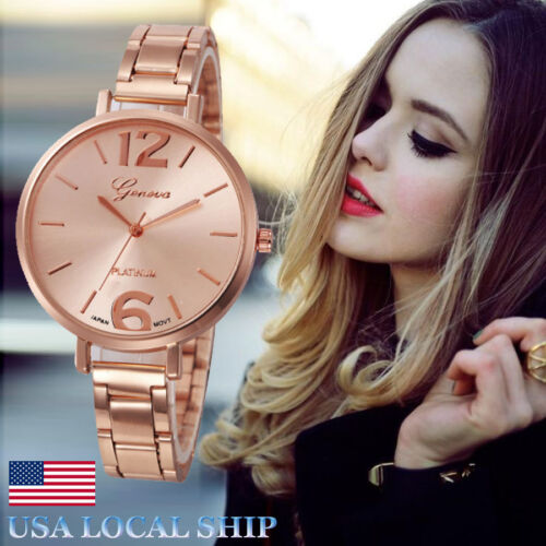 Womens Watch Analog Luxury Crystal Stainless Steel Quartz Wrist Watches Bracelet