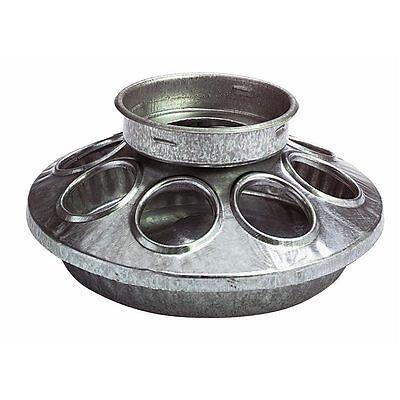 Galvanized Steel Metal 1 Quart Feeder Base For Chicken Coop Hen Poultry Liter