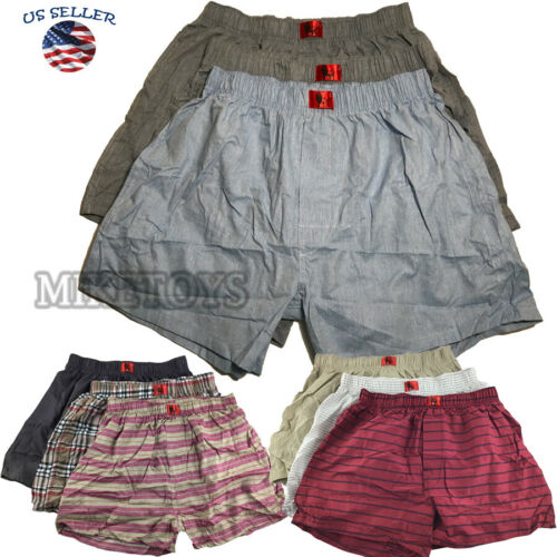 New 3 Mens Boxer Check Solid Shorts Trunk Underwear Cotton Briefs Size S-2XL (1)