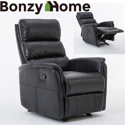 High Back Leather Recliner Sofa Rocker Home Theater Seat Headrest Lumbar Chair