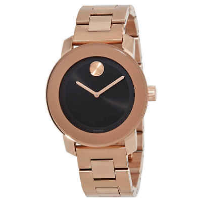 Movado Bold Black Sunray Dial Rose Gold-tone Unisex Watch 3600463