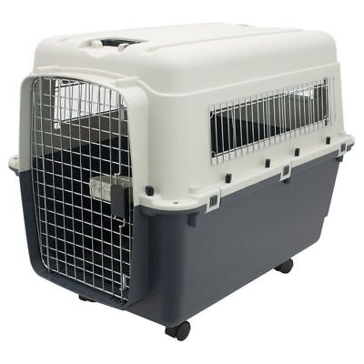 XXL Rolling Dog Crate Plastic Dog Kennel Travel Crate Extra Large Carrier Cage