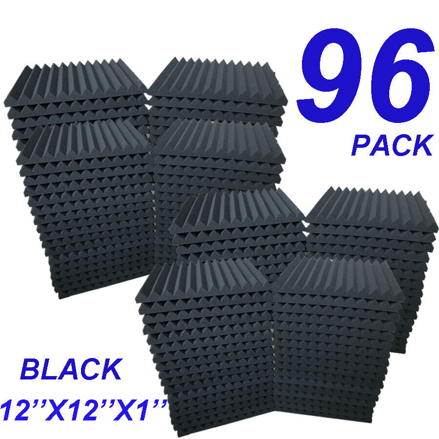 "96 Pack Acoustic Foam Panel Wedge Studio Soundproofing Wall Tiles 12"" X 12"" X 1"""