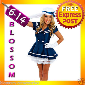 F21-Sailor-Ladies-Rockabilly-Pin-Up-Uniform-Fancy-Dress-Up-Costume-Outfit-Hat