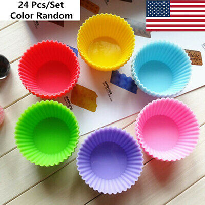 Silicone Cupcake Baking Cup Liners Molds 24 Pack Wrapper Pastry Tools Nonstick